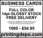 1000 Full Color Business Cards for $54.95 and includes delivery -- check out the site for details